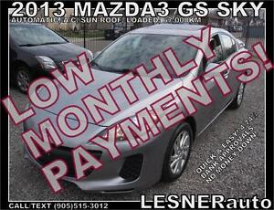$3000 DOWN, $166 for 60 months! SALE$10980 -2013 MAZDA3 GS SKY