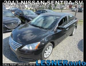 2013 NISSAN SENTRA SV -AUTO LOADED 64,KM- -NO-ACCIDENTS!