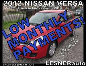 $3000 DOWN, $112 for 60 months! SALE$7960 -2012 NISSAN VERSA S