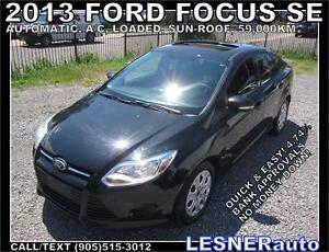 2013 FORD FOCUS SE -SUNROOF AUTO LOADED 59,KM -FACTORY WARRANTY!