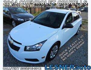 2014 CHEV CRUZE LS- $3000 DOWN, $150 for 60 months! PRICE$11488