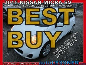 2015 NISSAN MICRA -ZERO DOWN, $159 for 60 months FINANCE TO OWN!