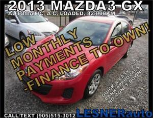 $3000 DOWN, $150 for 60 months! PRICE$9688 -2013 MAZDA3 GX