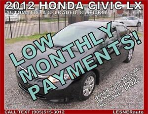 $3000 DOWN, $187 for 60 months! SALE$11488 --2012 HONDA CIVIC LX