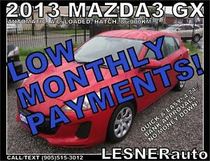 $3000 DOWN, $149 for 60 months! SALE$9688 -2013 MAZDA3 SPORT GX