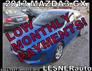 $3000 DOWN, $133 for 60 months! SALE$8988 -2013 MAZDA3 GX