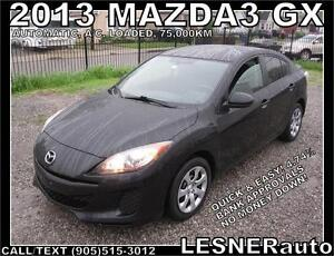 2012 MAZDA3 GX -AUTO A/C LOADED- FACTORY WARRANTY! 75,000KM