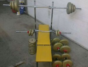 Old school bench press and weights