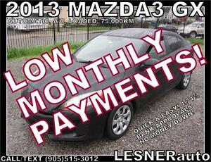 $3000 DOWN, $153 for 60 months! SALE$9880 -2013 MAZDA3 GX