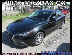 2015 MAZDA3 GX -60months $217 -$3000down- UNLIMITED KMS WARRANTY