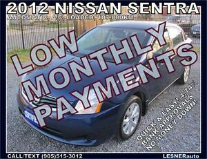 $3000 DOWN, $110 for 60 months! SALE$7699 -2012 NISSAN SENTRA SV