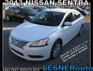 2013 NISSAN SENTRA SV -A/C LOADED BLUE-TOOTH PUSH BUTTON! 66,KM!