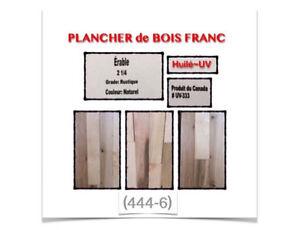 """(444-6)  PLANCHER BOIS FRANC ÉRABLE """"HUILÉ-UV"""" 2""""1/4  2.75$ /P.C"""