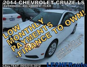 $3000 DOWN, $155 for 60 months! PRICE$9880 -2014 CHEVROLET CRUZE