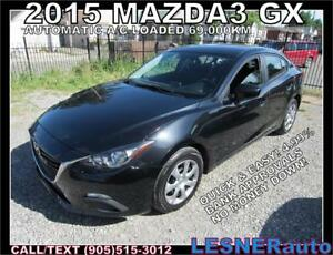2015 MAZDA3 GX -AUTO LOADED BLUETOOTH 69,KM- NO-ACCIDENTS