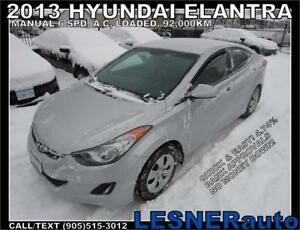 2013 HYUNDAI ELANTRA GL -MANUAL A/C LOADED 92,KM- NO ACCIDENTS!