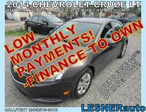 2014 CHEV CRUZE LT- $3000 DOWN, $188 for 60 months! PRICE$11488