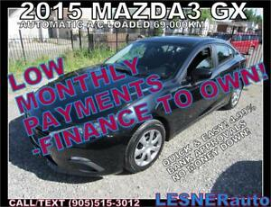 $3000 DOWN, $217 for 60 months! PRICE$12480 -2015 MAZDA3 GX