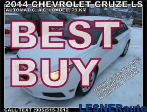2014 CHEVROLET CRUZE LS -AUTO A/C LOADED  79,000KM- NO ACCIDENTS