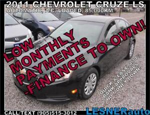 $3000 DOWN, $115 for 60 months! SALE$7988 -2011 CHEV CRUZE LS-