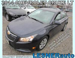 2014 CHEVROLET CRUZE LT -AUTO LOADED 54,KM- FACTORY WARRANTY!