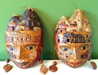 2 Authentic Clay Native Peruvian masks - $40 each