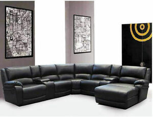 7 PC Bonded Leather Sectional W/ Recliners and Lounger $1898