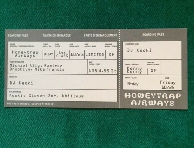 RARE Vintage 90s NYC Club Flyer: 1996 MICHAEL ALIG and DJ Keoki  - HONEY TRAP