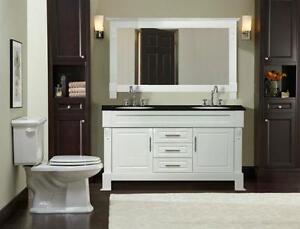 Meuble vanité blanc 60'' Démo,comptoir granite/white vanity 60''