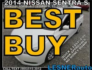 2014 NISSAN SENTRA S -MANUAL A/C LOADED 89,KM- FACTORY WARRANTY