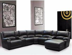 7 PC Bonded Leather Sectional W/ Recliners and Lounger $1798