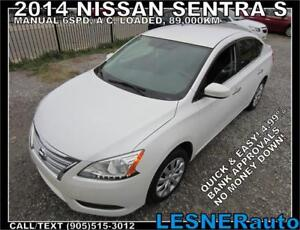 2014 NISSAN SENTRA S -MANUAL 6SPD A/C LOADED 89,KM- NO-ACCIDENTS