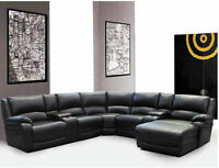 5 PC Bonded Leather Sectional W/ 2 Recliners and Lounger $1798