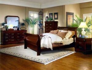 6 PC QUEEN SIZE CHERRY OR BLACK FINISH BEDROOM SET $898