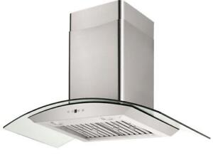 GLASS CURVED RANGE HOOD - NEW - LED Lights - 720 CFM