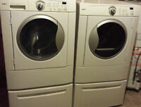 KENMORE FRONT LOAD WASHER AND DRYER WITH PEDESTALS