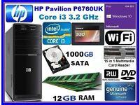 i3 HP Core 3.2GHz Windows 10 12GB RAM HDMI DVDRW SSD HD 1000GB WiFi Desktop PC