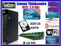 Windows 10 i3-4130T LENOVO ThinkCentre M73 Tiny Desktop 320 hdd 8Gb RAM WiFi