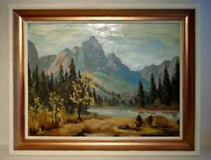 Vintage Canadian Rocky Mountain Oil Painting