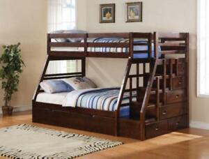 Solid wood, bunk beds are on huge warehouse sale, available right away for pick up or quick ship. Lowerst price in town