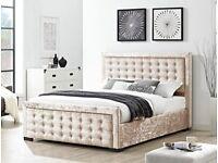 Delivery Today Crushed Velvet Designer King size Bed POCKET SPRUNG Memoryfoam Mattress Silver Cream