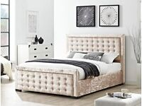Delivery TODAY / DAY OF CHOICE High Quality CRUSHED Velvet Double Bed King Bed/ Mattress Cream Grey