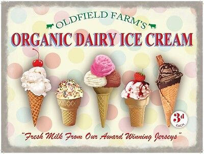 Pictures Ice Cream Cones - Organic Dairy Ice Cream Cones, Cafe or Restaurant, Small Metal Tin Sign, Picture