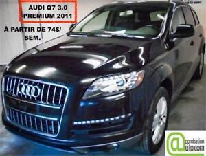 2011 Audi Q7 3.0L Premium,à partir de 74$/sem. CUIR 100% APPROUV