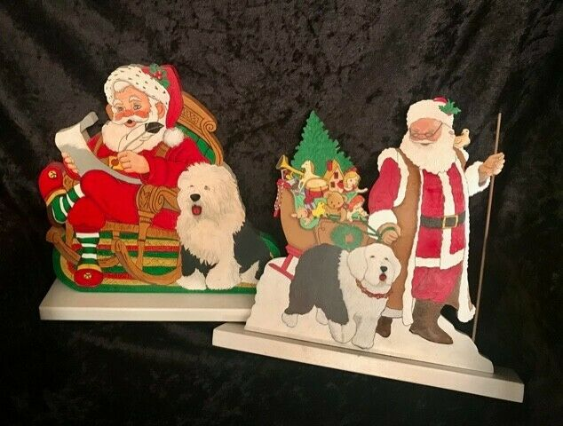 Old English Sheepdog, Two wood carvings with Santa & OES