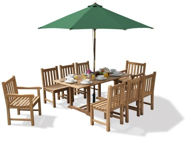 Deluxe Winchester Teak Garden Table And 8 Chairs Set Seat Outdoor Dining