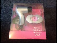 Travel hairdryer / alarm clock set