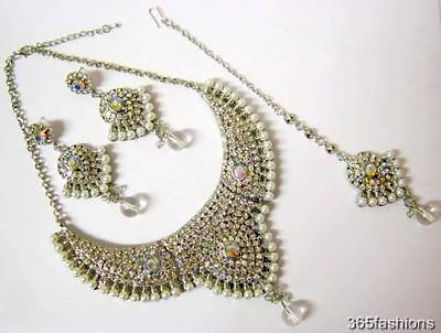 Parure collier boucles d'oreilles tikka argent mariage Bollywood Indien style