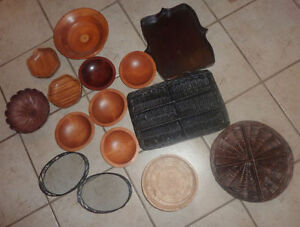 Wooden bowls, bamboo, wicker bowls, etc - used for display $ 1$2