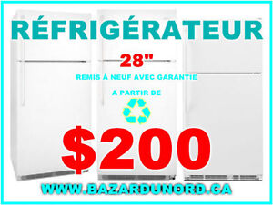"Refrigerateur/Frigo 28"" usage/reconditionne a partir de $200.00"
